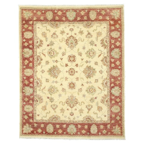 Hand-knotted Wool Ivory Traditional Oriental Agra Rug (8' x 10'1) - 8' x 10'