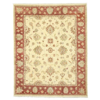 EORC Hand Knotted Wool Ivory Agra Rug (8' x 10'1)
