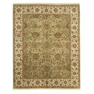 EORC Hand Knotted Wool Green Jaipur Rug (8'1 x 10'2)