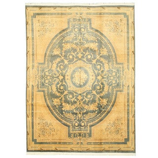 EORC Hand Knotted Wool Green Savonnerie Rug (8'10 x 12'1)