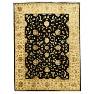 EORC Hand Knotted Wool & Silk Black Jaipur Rug (9' x 12')