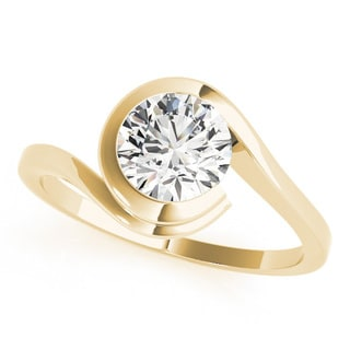 14k Gold Modern Diamond Solitaire Ring 0.90ct