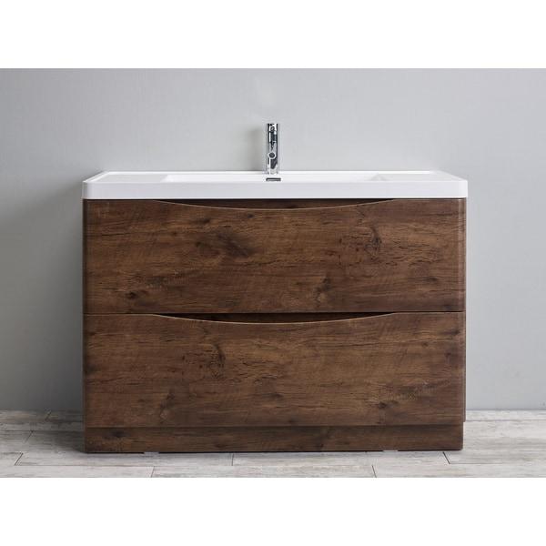 Shop Eviva Smile Inch Rosewood Modern Bathroom Vanity Set With - 48 inch modern bathroom vanity