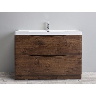 Eviva Smile 48-inch Rosewood Modern Bathroom Vanity Set with Integrated White Acrylic Sink