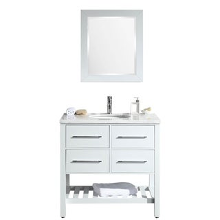 Eviva Natalie F. 36-inch White Bathroom Vanity with White Carrera Marble Counter-top and White Porcelain Sink