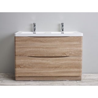 "Eviva Smile 48"" White-Oak Vanity with White Acrylic Double Sink"