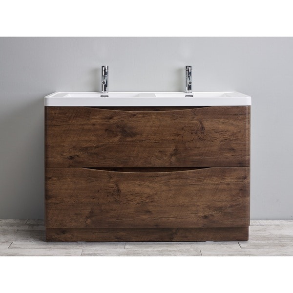Eviva Smile 48 Inch Rosewood Modern Bathroom Vanity Set With Integrated White Acrylic Double