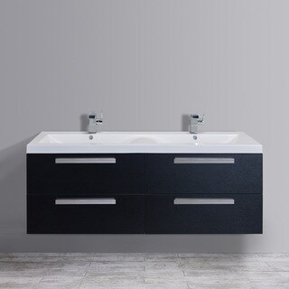 Eviva Surf 57-inch Black-Wood Modern Bathroom Vanity Set with Integrated White Acrylic Double Sink