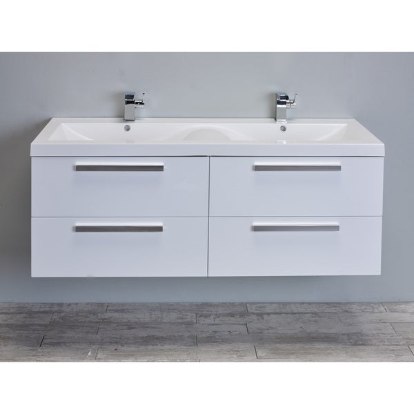 Eviva Surf 57 Inch White Modern Bathroom Vanity Set With Integrated White  Acrylic Double Sink
