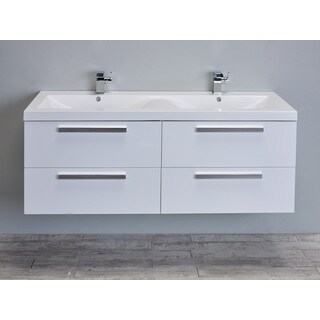 Eviva Surf 57-inch White Modern Bathroom Vanity Set with Integrated White Acrylic Double Sink