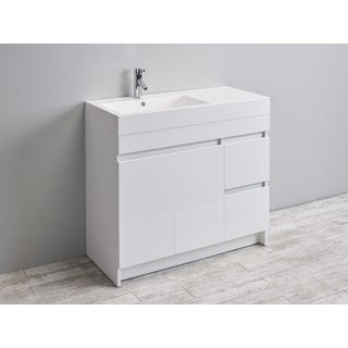 Eviva Beach 39-inch White Modern Bathroom Vanity Set with Integrated White Acrylic Sink