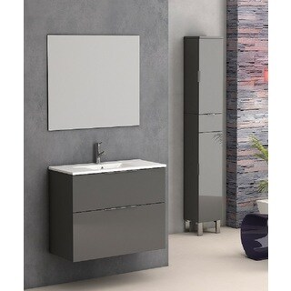 Eviva Galsaky 28-inch Grey Modern Bathroom Vanity Wall Mount with White Integrated Porcelain Sink