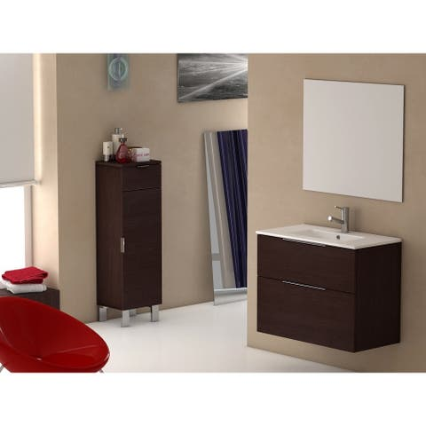 Eviva Galsaky 28-inch Wenge Modern Bathroom Vanity Wall Mount with White Integrated Porcelain Sink