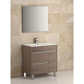 Eviva Tauro 32-inch Medium Oak Modern Bathroom Vanity Set with Integrated White Porcelain Sink