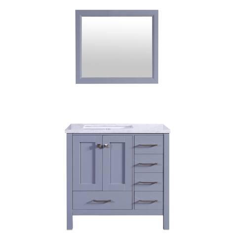 "Eviva Aberdeen 36"" Gray Transitional Bathroom Vanity w/ White Carrara Top"