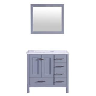 Eviva Aberdeen 36-inch Transitional Grey Bathroom Vanity with White Carrera Countertop and Square Sink