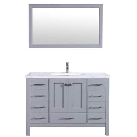 "Eviva Aberdeen 48"" Gray Transitional Bathroom Vanity w/ White Carrara Top"