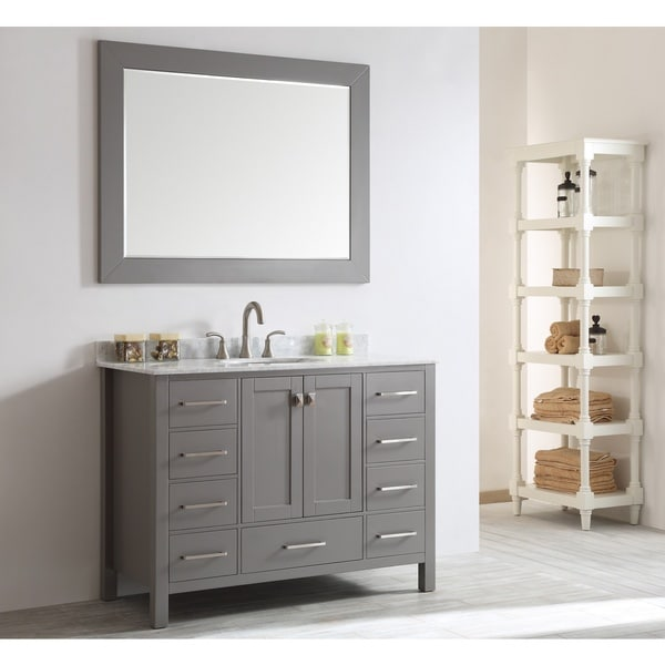 eviva aberdeen 48inch grey bathroom vanity with white carrera countertop and square sink
