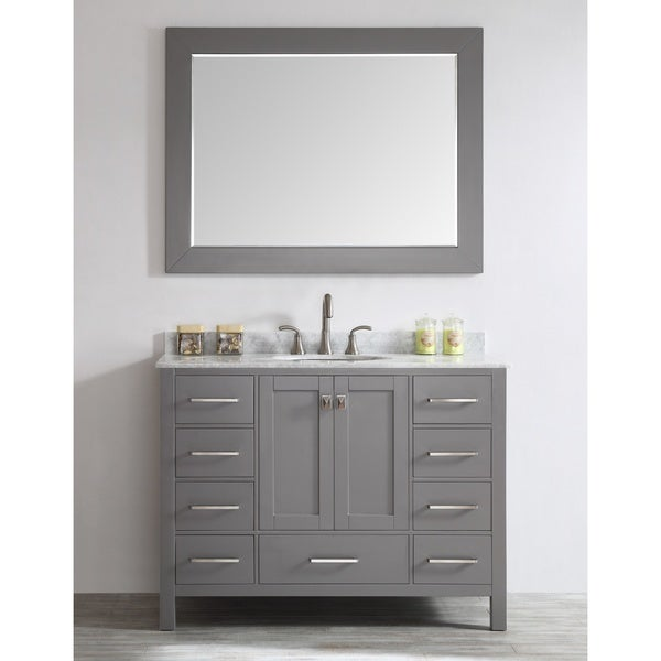 Wonderful Eviva Aberdeen 48 Inch Transitional Grey Bathroom Vanity With White Carrera  Countertop And Square Sink   Free Shipping Today   Overstock.com   17977919