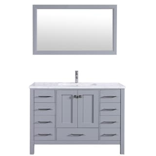 Eviva Aberdeen 48-inch Transitional Grey Bathroom Vanity with White Carrera Countertop and Square Sink