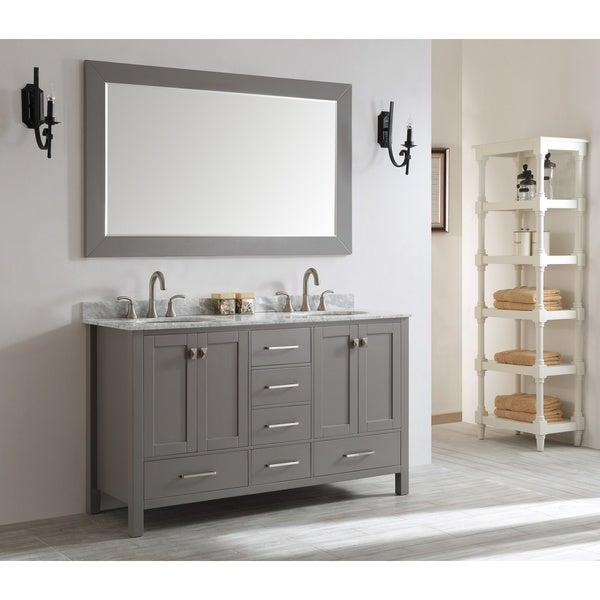 Eviva Aberdeen 60-inch Transitional Grey Bathroom Vanity With White Carrera Countertop And