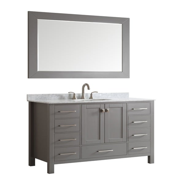 Eviva Aberdeen 60 Inch Transitional Grey Bathroom Vanity With White Carrera Countertop And Double Square
