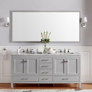 Eviva Aberdeen 60-inch Transitional Grey Bathroom Vanity with White Carrera Countertop and Double Square Sinks