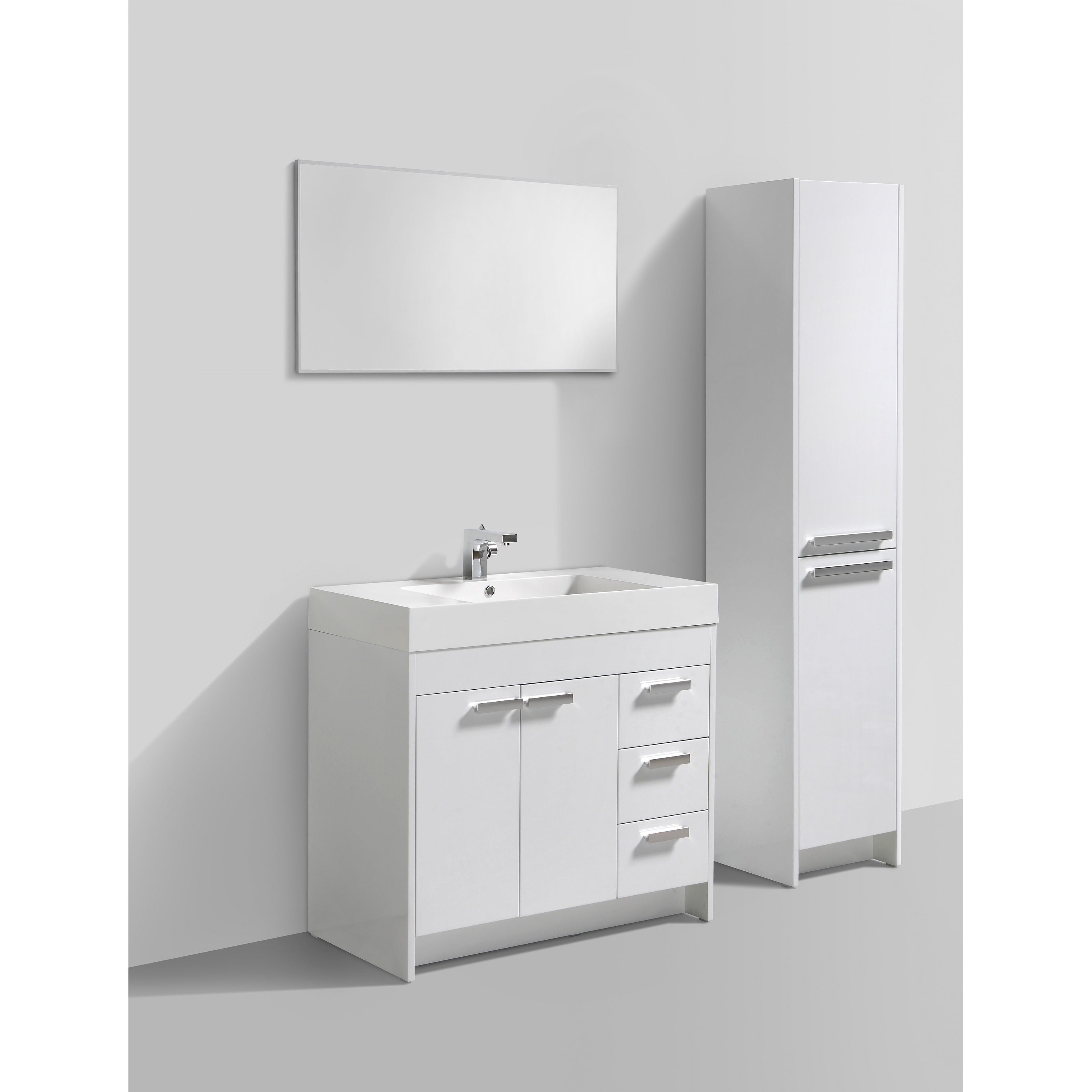 Shop Eviva Lugano 36 Inch White Modern Bathroom Vanity With White