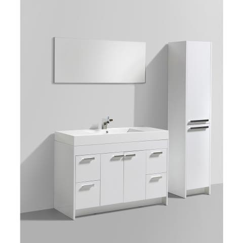 Eviva Lugano 48 inch White Modern Bathroom Vanity with White Integrated Acrylic Top