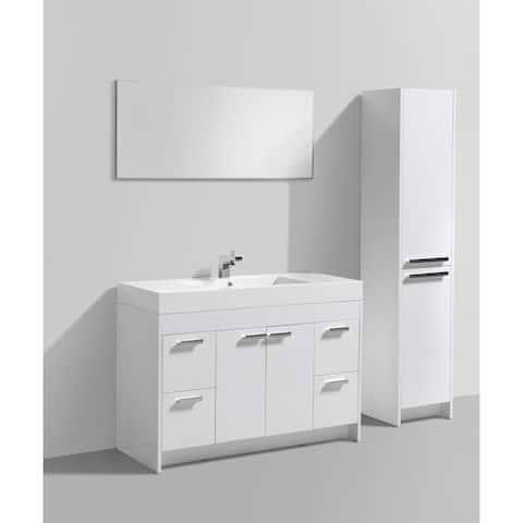 Eviva Lugano 48-inch White Modern Bathroom Vanity with White Integrated Acrylic Sink