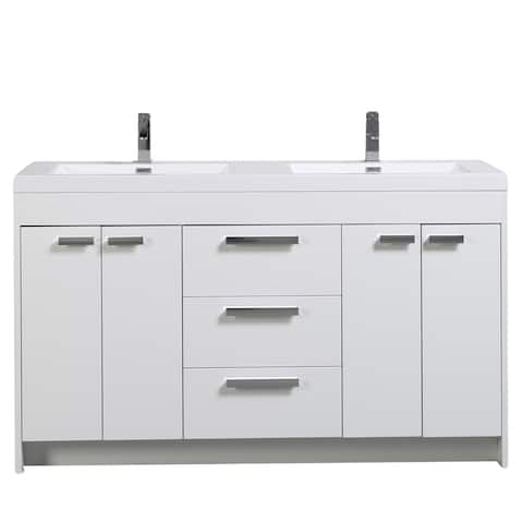 Eviva Lugano 60 inch White Modern Double Sink Bathroom Vanity with White Integrated Acrylic Top