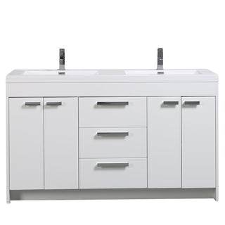 Eviva Lugano 60-inch White Modern Bathroom Vanity with White Integrated Acrylic Double Sink