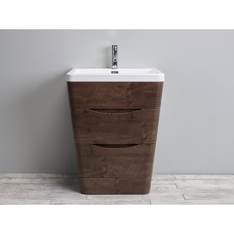 Eviva Victoria 25-inch Rosewood Modern Bathroom Vanity with White Integrated Acrylic Sink