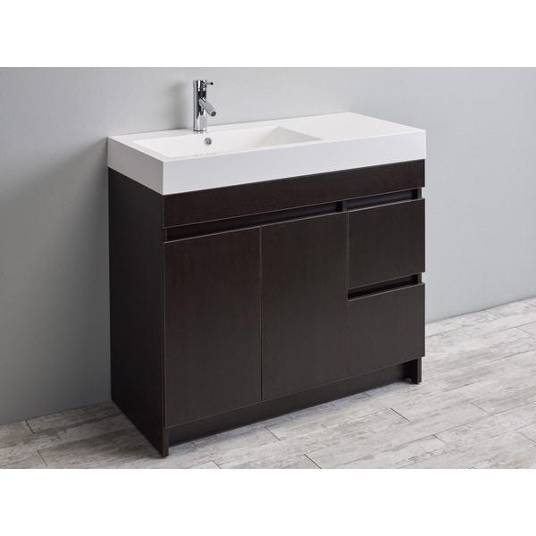 Eviva Beach 39 Inch Wenge Dark Brown Modern Bathroom Vanity Set With Integrated White Acrylic Sink