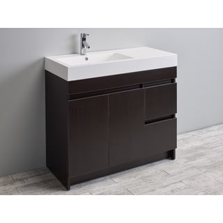 Eviva Beach 39-inch Wenge (Dark Brown) Modern Bathroom Vanity Set with Integrated White Acrylic Sink