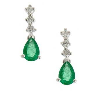 Anika and August 14k White Gold Pear-cut Emerald and Diamond Accent Earrings