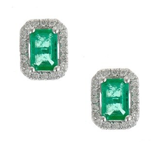 Anika and August 14k White Gold Emerald-cut Emerald and Diamond Accent Earrings