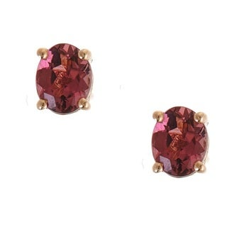 Anika and August 10k Rose Gold Oval-cut Pink Tourmaline Earrings