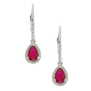 Anika and August 14k White Gold Pear-cut Ruby and Diamond Accent Earrings