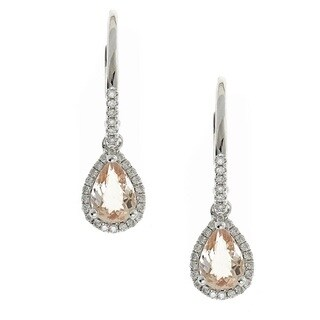 Anika and August 14k White Gold Pear-cut Morganite and Diamond Accent Earrings