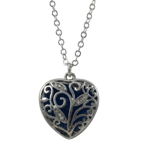 Luxiro Rhodium Finish Crystals Blue or Red Enamel Heart Pendant Necklace
