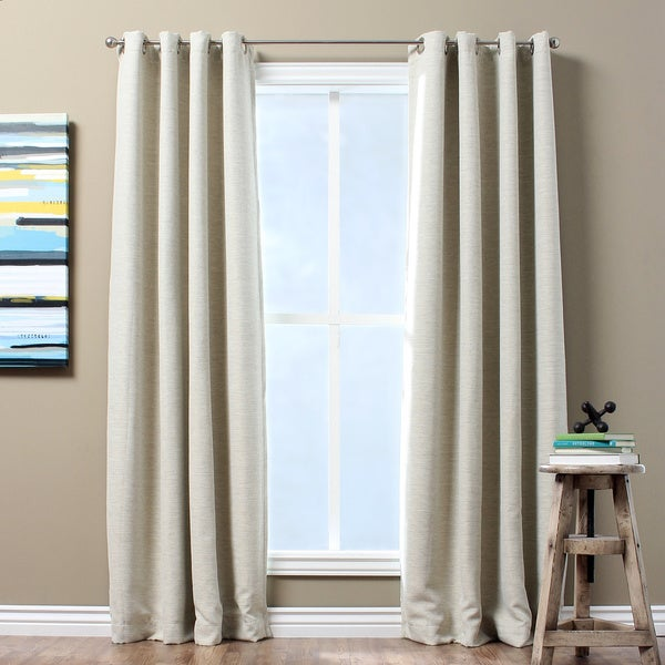 Solid Textured Insulated Thermal Blackout Curtain Panel in Ivory 95 in(As Is Item)