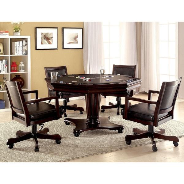 Furniture of America Karson 5-piece Dark Cherry 3-in-1 Poker Game Table Set