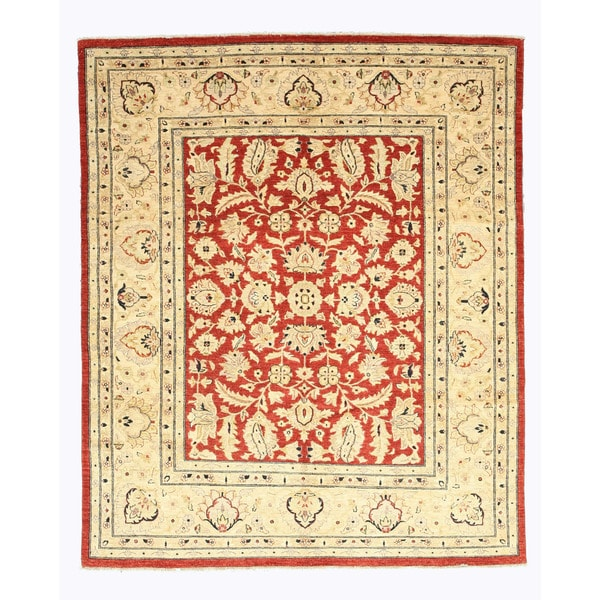 Hand Tufted Traditional Oriental Red Wool Rug With Non: Shop Hand-knotted Wool Red Traditional Oriental Peshawar