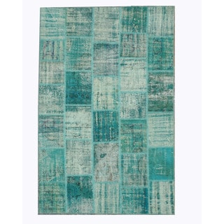 EORC Hand Knotted Wool Green Turkish Patch Rug (6'6 x 10')