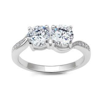 La Preciosa Sterling Silver Cubic Zirconia Two-Stone Engagement Ring