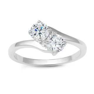 La Preciosa Sterling Silver Two-stone Cubic Zirconia Engagement Ring