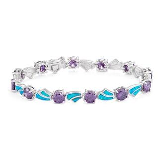 La Preciosa Sterling Silver Created Opal and Cubic Zirconia Link Bracelet