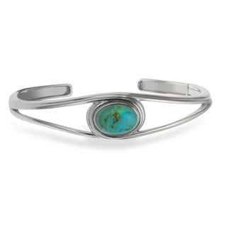 Sterling Silver Oval Turquoise Hinged Cuff Bracelet