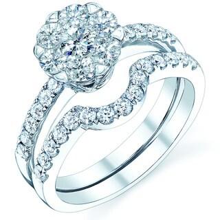 14k White Gold 9/10ct TDW Diamond Wedding Ring Set